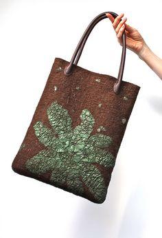 Marina Shkolnik - Nuno Felted Bag - merino wool, Indian crinkle silk, faux leather handles, recycled suede