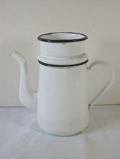 Vintage ENAMELWARE COFFEE POT Tiny White French Style! by LavenderGardenCottag