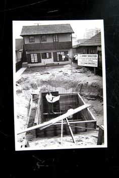 Postcard 1950s Bomb Shelter Construction, Loomis Dean Photo, 1951 Life Magazine via Etsy.