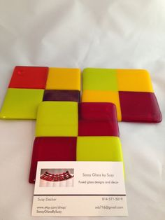 Fused glass patchwork coasters by SassyGlassBySuzy on Etsy