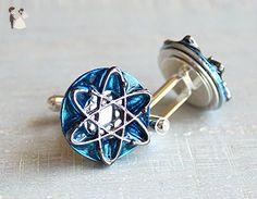 sky blue atom cufflinks - Groom cufflinks and tie clips (*Amazon Partner-Link)