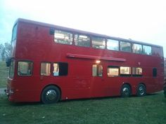 Double decker bus converted into mobile building with kitchen generator seating. For sale on eBay UK £36.5K. Perfect living and working space.