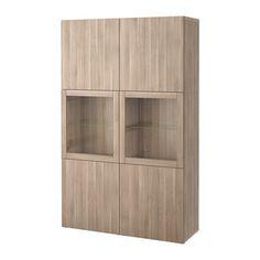$350 BESTÅ Storage combination w/glass doors - Lappviken/Sindvik gray stained walnut eff clear glass - IKEA