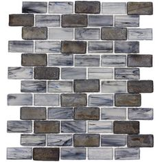 Elida Ceramica Melted Glacier Blue Gray Glass Mosaic Subway Indoor/Outdoor Wall Tile (Common: 12-in x 12-in; Actual: 10.75-in x 13-in)