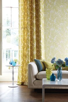 Lauren, a trailing all over leaf design in a delightfully pared down colour palette from the Delphine collection by Harlequin