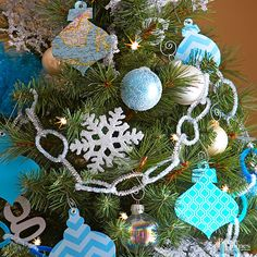 There's no need to get intricate when decorating your Christmas tree. For the easiest ornament idea ever, simply cut ornament shapes from patterned paper and set eyelets in the top for hanging. Editor's Tip: To make the Christmas crafts even more simple, use ornament-shape die cuts for each design./