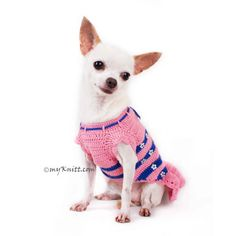 This darling pink dog dress with makes your puppy even looks prettier. Blue striped pink with crystal flower attached. Designed and handmade crocheted by Myknitt Designer Dog Clothes. Made of 100% cotton yarn material. Any personalized dog clothes are welcome. This listing is for handmade dog