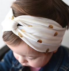 darling golden dot headband for little girls
