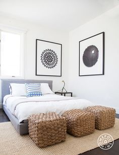 """The Beach House, Part 2 - Art by <a href=""""http://juerglehni.com/"""" target=""""_blank"""">Jurg Lehni</a> is the clear star of the second guest bedroom. I love that work (which is made with spray paint, by machines programmed by Lehni). I tied it into the rest of the room by bringing in black side tables and these life-changing lamps from <a href=""""http://shop.onefortythree.com/collections/lamps/products/tripod-desk-lamp"""" target=""""_blank"""">One Forty Three</a>. by Homepolish Los Angeles ..."""