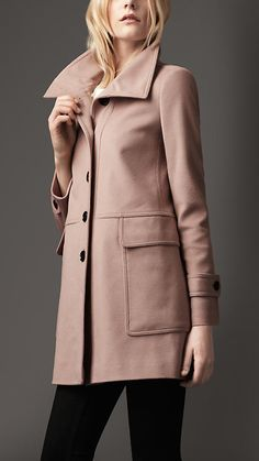 Burberry London Tailored Wool Cashmere Coat wanna get warm by putting on this one...
