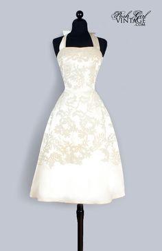 1950's Ivory Silk Marilyn Tea Length Evening or Wedding Dress
