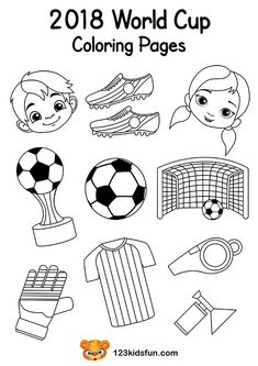 Coloring Pages - Football World Cup 2018. Free Worksheets and Activities for Kids. #football #WorldCup #2018