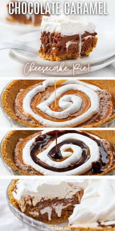 Chocolate Caramel Cheesecake Pie is a no-bake dessert with a homemade graham cracker crust filled with layers of chocolate cheesecake, marshmallow, fudge, and caramel. Phish Food Pie, Chocolate Marshmallow Caramel Pie, No Bake Pie, Dessert, Chocolate Pie, recipes, i am baker, iambaker