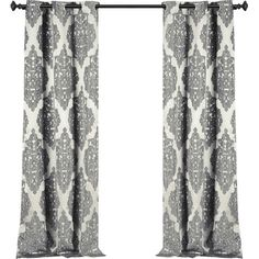Add a bold pop of pattern to your living room or master suite with this stylish curtain panel, showcasing a classic damask motif in grey.  ...