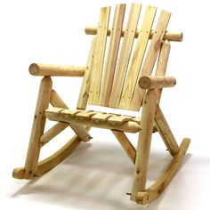 American Log Rocking Chair in Natural Finish, Patio Furniture (Wood)