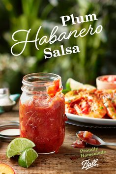 For an unexpected, tasty salsa this summer try Ball®'s Fresh Plum Habanero Salsa. The fresh sweet plums absorb some of the heat of the habaneros and mix well with the tomato-based salsa. Sauce Recipes, Great Recipes, Favorite Recipes, Healthy Recipes, Chimichurri, Guacamole, Habanero Salsa, Clean Eating, Healthy Eating