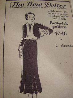 Butterick 4046 | 1930s Dress, Skirt and Bolero Pattern