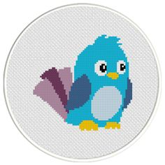 FREE  for Nov 3rd 2015 Only - Cute Blue Bird Cross Stitch Pattern