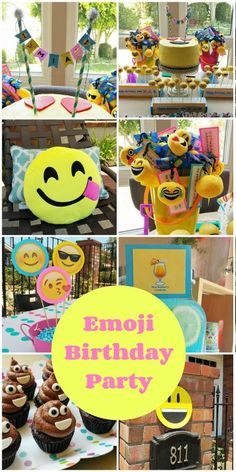 Fun and colorful Emoji Birthday Party ideas including DIY decorations, food and drink, and party favors for a summer pool party. 9th Birthday Parties, 11th Birthday, Birthday Ideas, Birthday Diy, Preteen Birthday, Birthday Emoji, Emoji Cake, Emoticons, Smileys