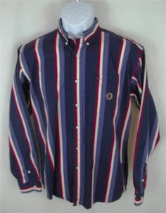 TOMMY HILFIGER Long Sleeve  Blue Red STRIPED Shirt Mens EXTRA LARGE XL #TommyHilfiger