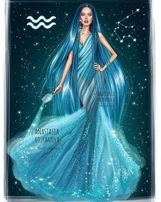 Aquarius Zodiac Series by Anastasia Kosyanova Astrology Aquarius, Aquarius Woman, Age Of Aquarius, Zodiac Signs Aquarius, Zodiac Star Signs, Astrology Numerology, Numerology Chart, Scorpio Zodiac, Fashion Illustration Dresses