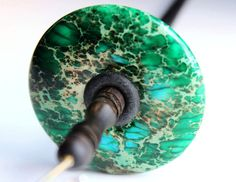 Drop Spindle Top Whorl Green SEA SEDIMENT JASPER ... Tool for Spinning Yarn. $39.00, via Etsy.