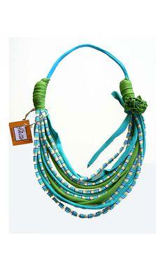 collar océano colores estilo africano tela recicla diseñado con flor de la tela--turquesa verde - joyería-primavera-verano de moda étnica de...