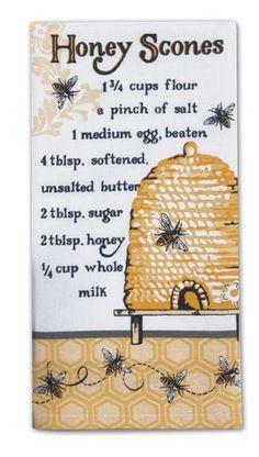 Amazon.com - Bee Hive Honey Scones Recipe Flour Sack Kitchen Dish Towel Cotton Kay Dee -