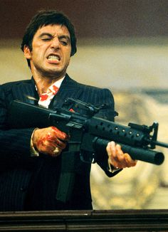 Al Pacino- OKAYYY! SAY HELLO TO MY LITTLE FRIEND! JU WANNA GO TA WAR!! I TAKE YOU TO WAR!! SAY HELLO TO MY LITTLE FRIEND... WHY DONT YOU DO SOMETINNG! JU KNOW GET A JOB HELP LITTLE BLIND KIDS OR SOMTING!