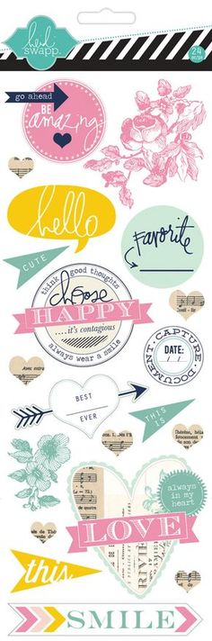 Etiquetas engomadas del conglomerado de Heidi Swapp (20 piezas)