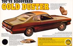 The inner pages advertising the 1973 Plymouth Gold Duster including the three-quarter vinyl roof.