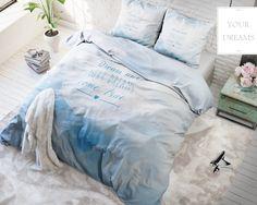 Biela súprava posteľných obliečok z mikrovlákna s nápisom