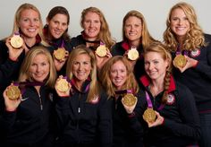 Team USA women's rowing  The women's rowing team poses for a portrait with their golds during the 2012 Olympics in London on August 3. This is the second straight gold medal win for the women's rowing team.