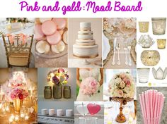 pink and gold wedding mood board