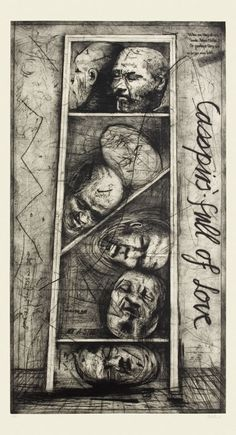 To own a William Kentridge....Casspirs Full of Love – an etching on paper by William Kentridge