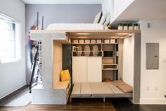 Space-saving loft designed for this small apartment in San Francisco. Domino Loft by ICOSA & Peter Suen