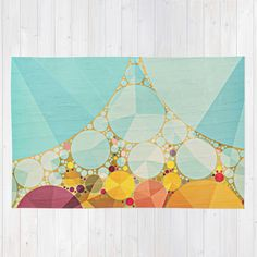 Travelling Show Abstract Circus Carnival Tent Rug by V. Sanderson / Chickens In The Trees | Society6