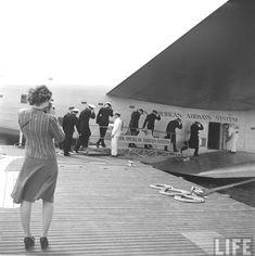 Crew boarding a Pan American Airways Boeing 314, c.1940.