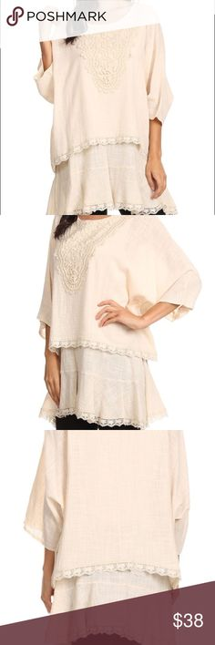 Plus Size creamy natural Tunic Sassy Bling brand plus size natural 100% cotton Tunic nice thicker fabric runs true to size with a loose relaxed fit sassy bling Tops Tunics