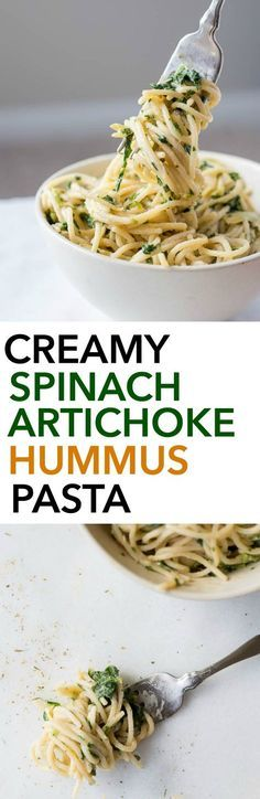 Creamy Spinach Artichoke Hummus Pasta: A healthy, gluten free, and vegan 10 minute meal! You'll love this healthier play on the classic spinach artichoke dip! || fooduzzi.com recipe