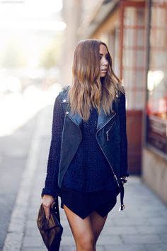 street style fashion trendy sweater crochet fashion photography leather vest