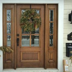 True Divided with Panel Bottom Mahogany Entry Door with Two Sidelites [mo. - True Divided with Panel Bottom Mahogany Entry Door with Two Sidelites [mo… True Divided with Panel Bottom Mahogany Entry Door with Two Sidelites [more info] - Front Door Entryway, Wood Entry Doors, House Front Door, Glass Front Door, Entrance Doors, Entryway Decor, Front Entry, Front Porch, Exterior Doors With Glass