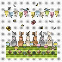 Egg Bunnies cross stitch card kit