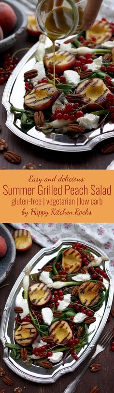 Cajun Delicacies Is A Lot More Than Just Yet Another Food Gluten-Free Summer Grilled Peach Salad Recipe With Beet Greens, Red Currants, Goat Cheese, Pecans And Grilled Scallions, Topped With Maple Balsamic Dressing Salad Recipes Low Carb, Vegetarian Recipes, Healthy Recipes, Veggie Recipes, Delicious Recipes, Grilled Peach Salad, Grilled Peaches, Grilled Fruit, Maple Balsamic Dressing