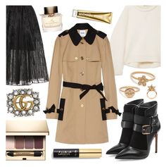 """""""As They Say, Timing Is Everything."""" by refinedpunk ❤ liked on Polyvore featuring T By Alexander Wang, Elie Saab, Balmain, Marc Jacobs, Clarins, Moschino Cheap & Chic, Burberry, Michael Kors, Gucci and Atelier Swarovski"""