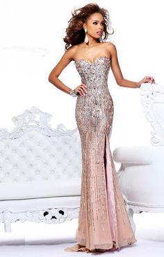 Strapless Sleeveless A-Line/Princess Floor-Length Beading Dress