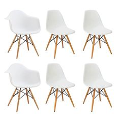 Conjunto com 6 Cadeiras Eames Premium Branca Base Madeira