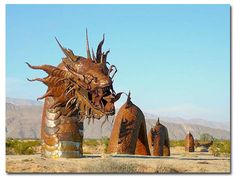 350-foot long serpent with a tail of a rattlesnake and a head of a dragon at Anza-Borrego Desert State Park in Borrego Valley, Southern California.