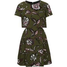 TOPSHOP Floral Overlay Dress ($80) ❤ liked on Polyvore featuring dresses, khaki, side cutout dresses, floral overlay dress, khaki dress, floral day dress and green floral print dress