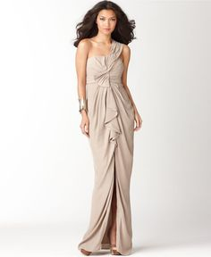 BCBGMAXAZRIA Dress, One Shoulder Draped Evening Gown -- I love the ruffles on this one! (macys)